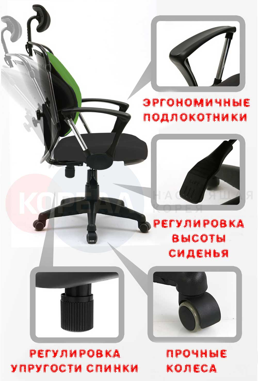 зеленое ортопедическое кресло